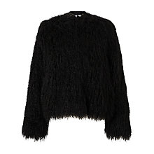 Buy Samsoe & Samsoe Sophia Faux Fur Jacket, Black Online at johnlewis.com