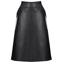 Buy Warehouse Clean Faux Leather Midi Skirt, Black Online at johnlewis.com