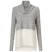 Buy Miss Selfridge Crop Knitted 2 in 1 Top, Grey Online at johnlewis.com