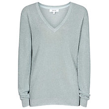 Buy Reiss Estee Metallic V-Neck Jumper, Fern Online at johnlewis.com