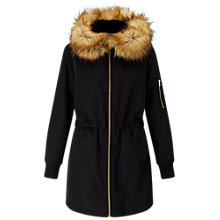 Buy Miss Selfridge Longline Parka, Black Online at johnlewis.com