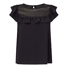 Buy Miss Selfridge Ruffle Bib Shell Top, Black Online at johnlewis.com