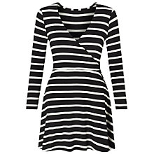 Buy Miss Selfridge Petite Stripe Wrap Dress, Black Online at johnlewis.com