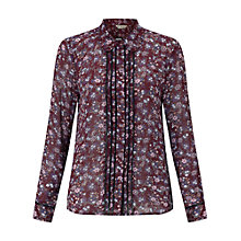 Buy Miss Selfridge Ditsy Floral Lace Shirt, Burgundy Online at johnlewis.com