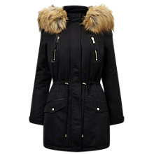 Buy Miss Selfridge Lux Parka, Black Online at johnlewis.com