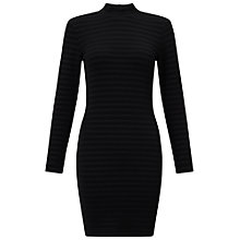 Buy Miss Selfridge Petite High Neck Rib Dress, Black Online at johnlewis.com
