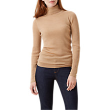 Buy Hobbs Lara Ribbed Roll Neck Jumper, Camel Online at johnlewis.com