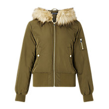 Buy Miss Selfridge Hooded Bomber Jacket Online at johnlewis.com