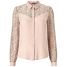 Buy Miss Selfridge Lace Insert Shirt, Nude Online at johnlewis.com