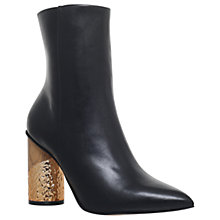Buy KG by Kurt Geiger Raffle Pointed Toe Block Heel Ankle Boots, Black Leather Online at johnlewis.com