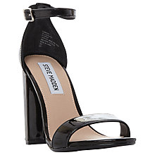 Buy Steve Madden Carrson High Block Heel Two Part Sandals, Black Patent Online at johnlewis.com