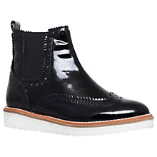 Buy KG by Kurt Geiger Rocco Flat Ankle Boots, Black Patent Leather Online at johnlewis.com