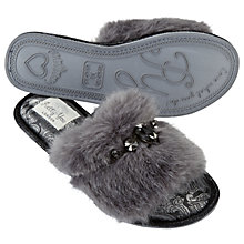 Buy Pretty You London Savanna Embellished Mule Slippers, Grey Online at johnlewis.com