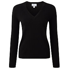 Buy Pure Collection Jasmine Cashmere V Neck Jumper, Black Online at johnlewis.com