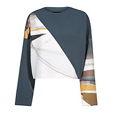 Buy Jaeger Daisy Cook Print Oversized Top, Grey Online at johnlewis.com