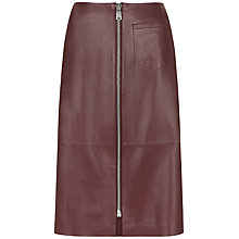 Buy Jaeger Leather Zip Front Skirt, Bordeaux Online at johnlewis.com