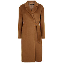 Buy Jaeger Alpaca Wool Half-Belt Coat, Conker Online at johnlewis.com