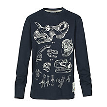 Buy Fat Face Boys' Long Sleeved Fossil Explorer T-Shirt, Navy Online at johnlewis.com