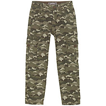 Buy Fat Face Boys' Van Printed Cargo Trousers, Khaki Camo Online at johnlewis.com