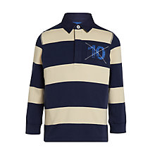 Buy John Lewis Boys' Bar Stripe Rugby Top, Blue/White Online at johnlewis.com
