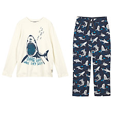 Buy Fat Face Boys' Shark Pyjamas, Navy Online at johnlewis.com