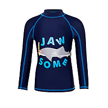 Buy John Lewis Boys' Shark Print Rashie, Navy Online at johnlewis.com