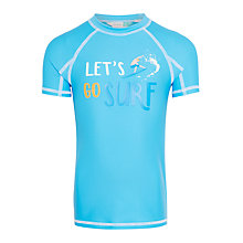 Buy John Lewis Boys' Let's Surf Short Sleeve Rashie, Blue Online at johnlewis.com