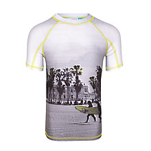Buy John Lewis Boys' Beach Print Short Sleeve Rashie, Grey Online at johnlewis.com
