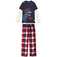 Buy Fat Face Children's Buffalo Check Pyjamas, Red Online at johnlewis.com