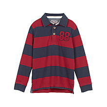 Buy Fat Face Boys' Stripe Rugby Top, Rust Red Online at johnlewis.com