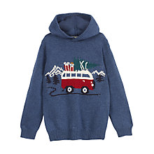 Buy Fat Face Boys' Van Hooded Jumper, Storm Blue Online at johnlewis.com