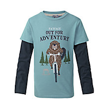 Buy Fat Face Boys' Cycling Beaver 2 in 1 T-Shirt, Slate Blue Online at johnlewis.com