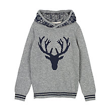 Buy Fat Face Boys' Hooded Stag Jumper, Grey Marl Online at johnlewis.com