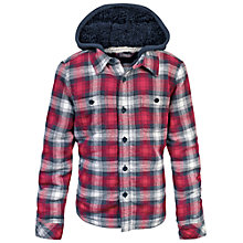 Buy Fat Face Boys' Warmwell Hooded Check Shacket, Red Online at johnlewis.com