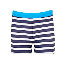 Buy John Lewis Boys' Striped Swimming Trunks, Navy/White Online at johnlewis.com