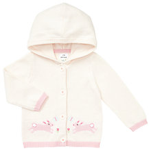 Buy John Lewis Baby Bunny Hood Intarsia Cardigan, Cream Online at johnlewis.com