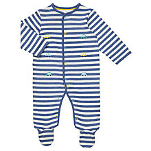 Buy John Lewis Baby Car Stripe Jersey Cotton Sleepsuit, Blue/White Online at johnlewis.com