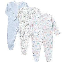 Buy John Lewis Baby GOTS Organic Cotton Ditsy, Stripe & Animal Print Sleepsuits, Pack of 3, Multi Online at johnlewis.com