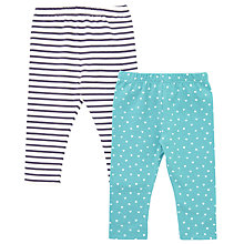 Buy John Lewis Baby Striped Leggings, Pack of 2, Blue/Grey Online at johnlewis.com