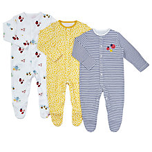 Buy John Lewis Baby GOTS Organic Cotton Garden Sleepsuit, Pack of 3, Multi Online at johnlewis.com