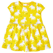 Buy John Lewis Baby Cat Print Dress, Yellow Online at johnlewis.com