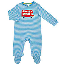 Buy John Lewis Baby Bus Applique Striped Sleepsuit, Blue Online at johnlewis.com