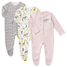 Buy John Lewis Baby Safari Animal Organic GOTS Cotton Sleepsuit, Pack of 3, Multi Online at johnlewis.com