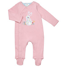 Buy John Lewis Baby Ditsy Rabbit Sleepsuit, Pink Online at johnlewis.com