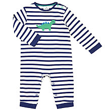 Buy John Lewis Baby Crotchet Dinosaur Romper, Blue/White Online at johnlewis.com