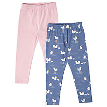 Buy John Lewis Baby Bird Cotton Leggings, Pack of 2, Navy/Pink Online at johnlewis.com