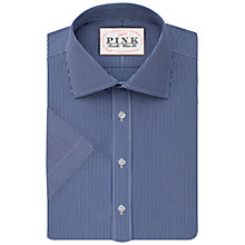 Buy Thomas Pink Ferguson Check Classic Fit Short Sleeve Shirt, White/Navy Online at johnlewis.com