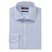 Buy John Lewis Non Iron Gingham Slim Fit Shirt, Blue Online at johnlewis.com