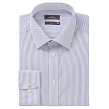 Buy John Lewis Non Iron Bengal Stripe Tailored Fit XL Sleeve Shirt, Blue/White Online at johnlewis.com