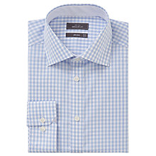 Buy John Lewis Non Iron Gingham Regular Fit XL Sleeve Shirt, Blue/White Online at johnlewis.com